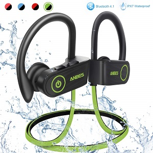 ANBES Bluetooth Headphones Wireless Earbuds, IPX7 Waterproof in-Ear Earphones Sports