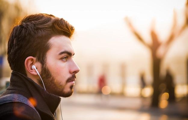 man with earphones