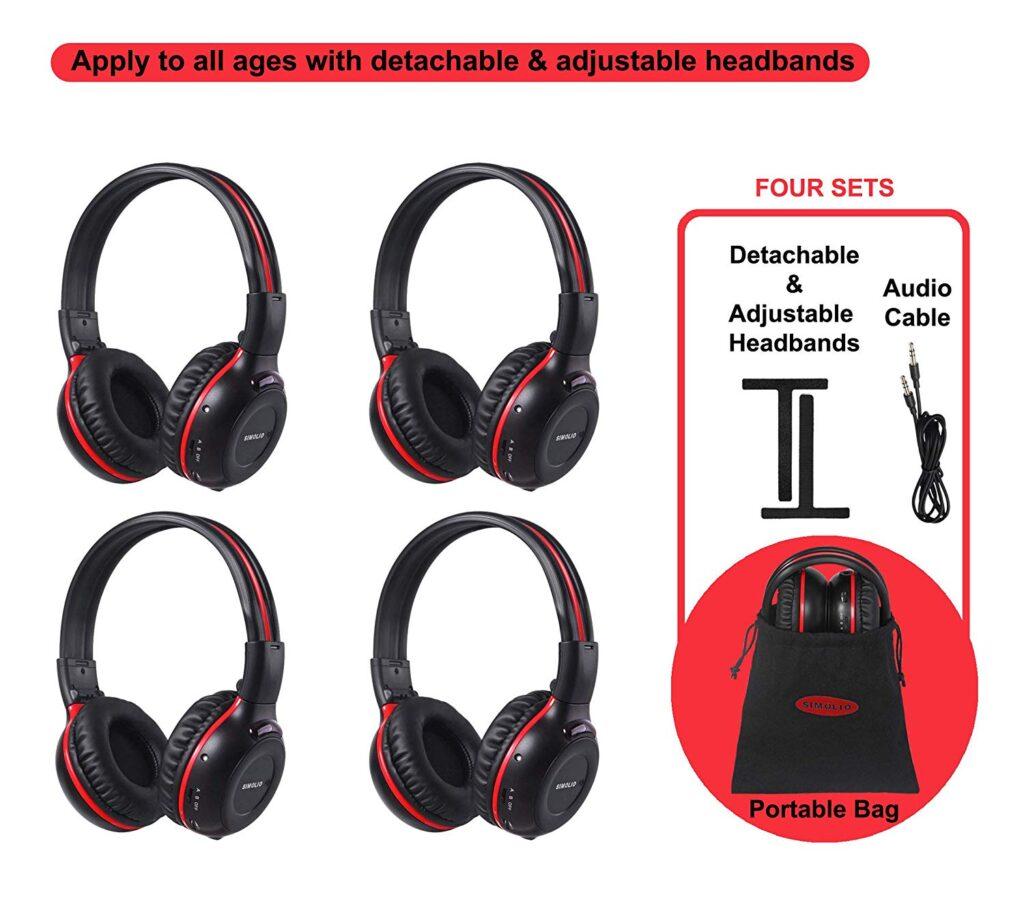 4 in 1 Pack of Vehicle HeadphonesIR Infrared Headphones-